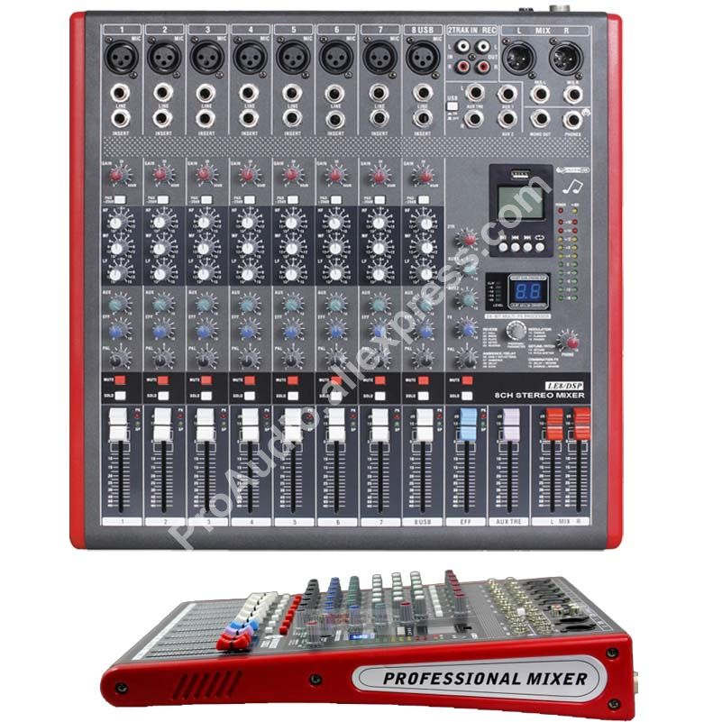 MICWL LE8 Pro 8 Channel 99 DSP Effects Stereo Microphone Mixer Sound Mixing  Console MP3 USB 48V 24-Bit Multi-FX Processor
