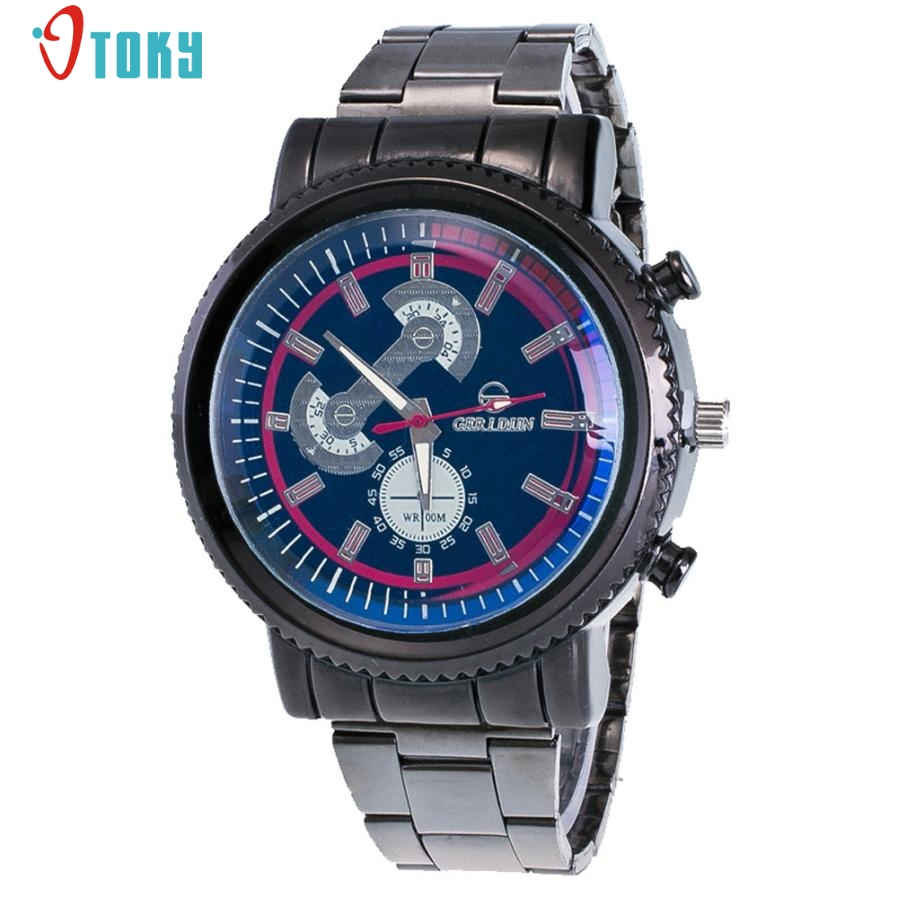 2017 New Popular Fashion Men Watches Multicolor Dial Stainless Steel Sport Quartz Hour Wrist Analog Watch Creative Mar29 2016 new fashion watches men motion form mens watches stainless steel band sport quartz hour wrist analog watch birthday gifts
