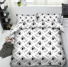 Bulldog Black and White Bedding set quilt duvet cover bed in a bag sheet linen Queen size Super King full twin bedspread 4PCS