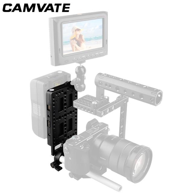 CAMVATE 카메라 비디오 V 잠금 배터리 플레이트 퀵 릴리스 마운팅 플레이트 키트 15mm로드 클램프 DSLR 카메라 지원 시스템