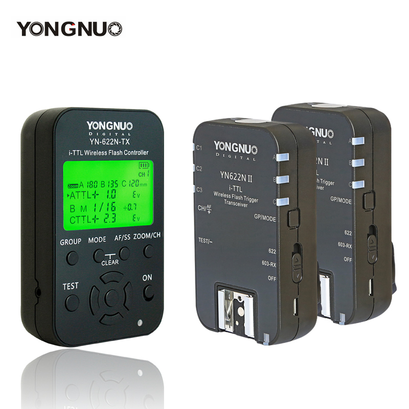 купить 2pcs Yongnuo i-TTL Wireless Flash Trigger Transceiver YN622N II + Transmitter Controller YN622N-TX for Nikon YN568EX YN685 по цене 2719.9 рублей