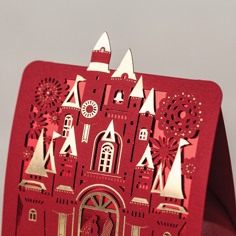romantic castle favors gifts baby shower elegant red gold luxury decoration laser cut party wedding paper candy box for guest in gift bags wrapping