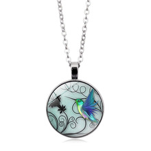 2019 new creative blue hummingbird time Crystal necklace hot glass pendant sweater chain wholesale недорого