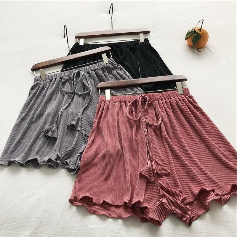 Fashion Drawstring Short Femme Wide Leg Womens Shorts Harajuku Loose Pleated Summer Shorts Hotpants Beach Ladies Shorts C5255