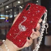 For iPhone XS max XR X Luxury flamingo Shell Case bling diamond cute Cover for iPhone 8 8plus 7 7plus 6 6S 6SPlus +bling strap