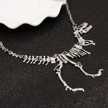 Sexy Long Necklace Gothic Tyrannosaurus Rex Skeleton Dinosaur Pendant Charm Necklace Dragon Bone Alloy Collares Silver Jewelry(China)