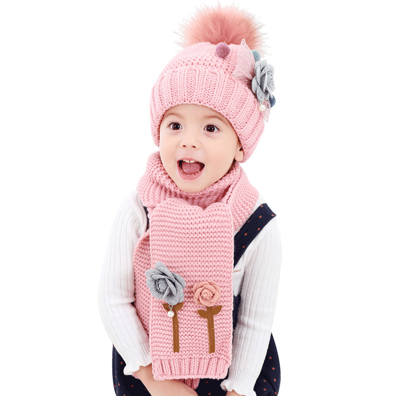 Age 1-7 Kids Winter Knitted Hat Scarf Set Pompom Hat Sets For Girls Boys Fashion Flower Children Thick Warm Hat And Scarf Sets