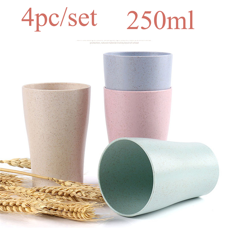 4pcs/set 250ml Tea Cup Wheat Straw Water Cup Multi-Functional Cola Coffee Plastic Cup Drinking Cup Kids Cups Reusable Bright cup