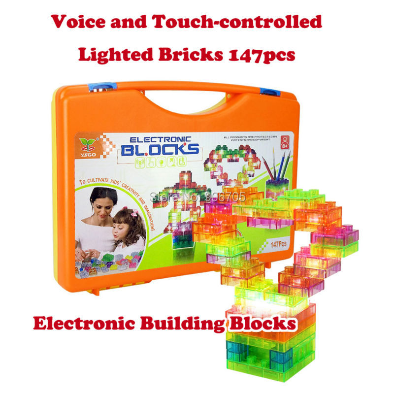 Voice-Touch-Controlled Light Electronic  snap circuit  Building Blocks Sets Enlighten Bricks Physics Educational Toys Model Kit