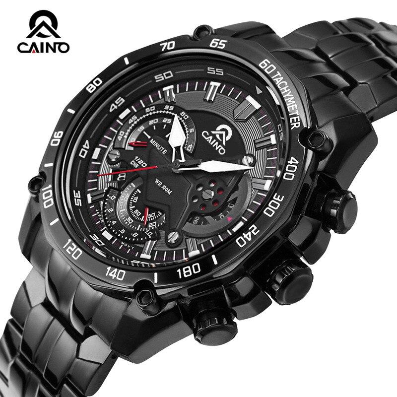 CAINO Fashion Men Quartz Wristwatch Male Clock Full Steel Waterproof Wristwatch font b Military b font