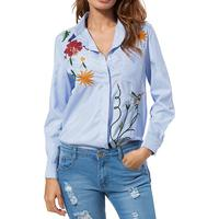 Women Blouses Striped Floral Embroidery Long Sleeves 2018 Spring Elegant Turn Down OL Casual Blouses Blusas