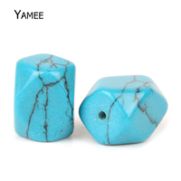 20pcs Pack 12 16mm Blue Loose Spacer Geometric Beads Created Turquoise Loose Beads Making Craft Jewelry