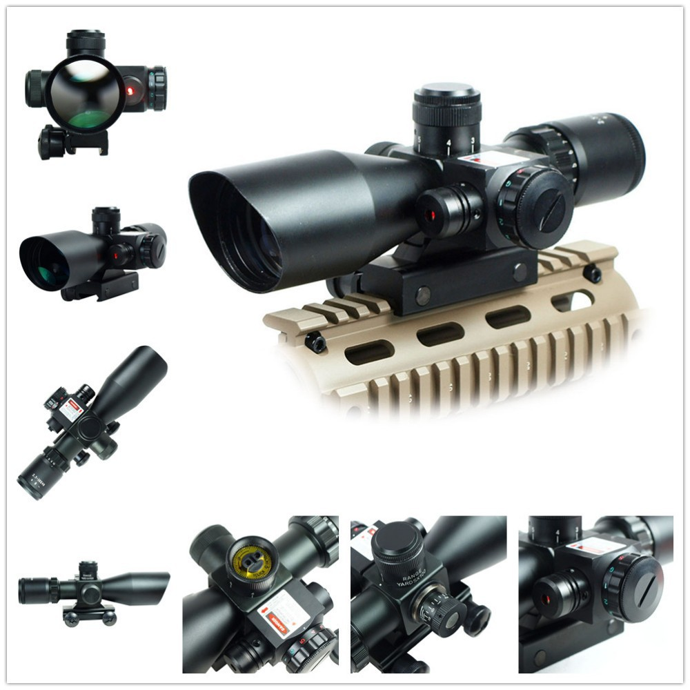 Airsoft Hunting Optics Riflescopes 2.5-10x40E/R Tactical Rifle Scope Mil-dot Dual illuminated w/ Red Laser & Mount Free Shipping 3 10x42 red laser m9b tactical rifle scope red green mil dot reticle with side mounted red laser guaranteed 100%