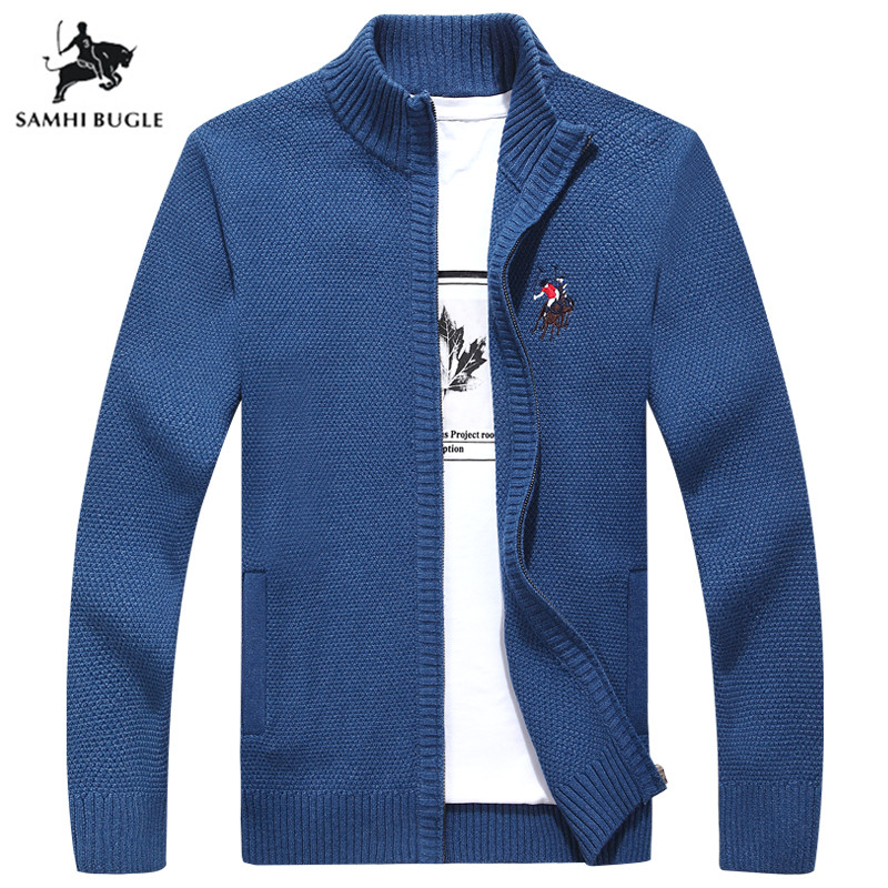 2019 Autumn Winter New Style Pure Pure Color High Quality Sweater Men Business Embroidery Cardigan Sweater Sweater Jacket