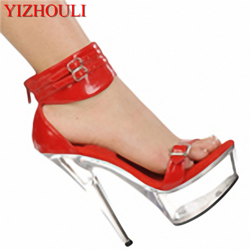 Princess nightclub favourite sexy 15cm peep-toe Sandals high-heeled shoes banquet Appeal show set-up for Dance Shoes