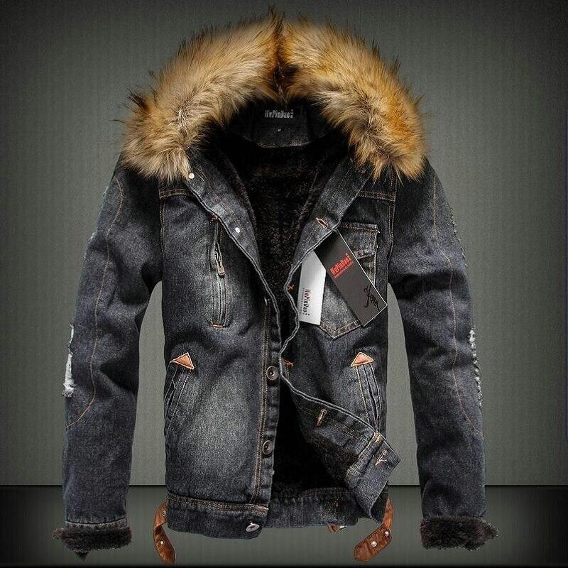 YuWaiJiaRen winter ripped jeans coat men fleece thick warm single breasted cotton faux fur collar denim jacket fashion contrast faux fur collar ripped detail jacket