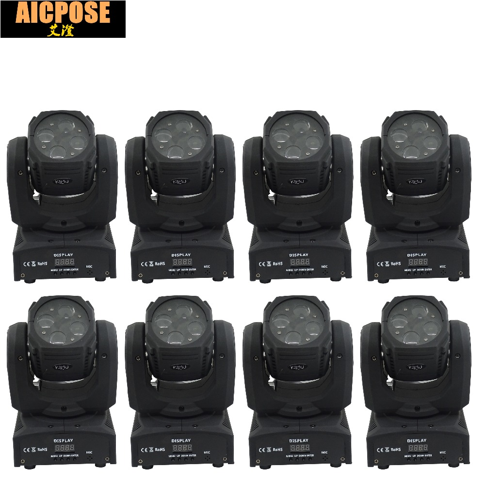 8units Mini 4X10W Super Beam Moving Head Lights 60W High Brightness LED Beam Lights Perfect For DJ Disco Party Wedding Shows super brightness 4x10w rgbw led mini beam moving head dj light led wash disco lighting led display dmx dj equipment for party