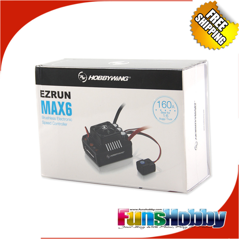 Hobbywing EzRun MAX6 V3 160A Waterproof Brushless ESC Speed Controller 1/6 FREE SHIPPING hobbywing ezrun max8 v3 t trx plug waterproof 150a esc brushless esc 4274 2200kv motor led program card for 1 8 rc car crawler