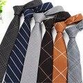 Alta calidad 6 cm moda flacos ocasionales de algodón corbata rayas Diagonales rejilla Regalo partido negocios delgada corbata lazos para Los Hombres Gris lazos