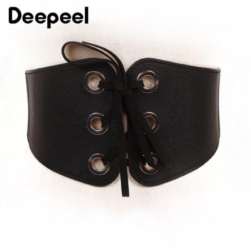 Deepeel 1pc 65cm Imitation Leather Elastic Band Cummerbunds Female Shirt Decorative Wide Belt Dress Accessory Elastic Belt CB026