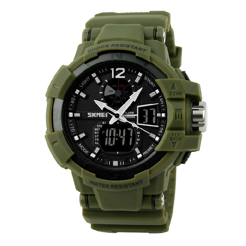SKMEI 1040 Men LED Digital Quartz Military Watch Green