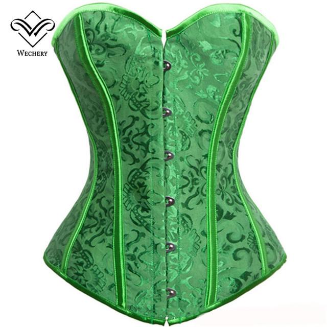 Wechery verde sexy corset brocado jacquard corsés y bustiers para las mujeres modelado correa de boda real corsé