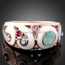 Новинка, обручальные кольца цвета розового золота с модными цветными кристаллами, стразы, круглые ювелирные изделия, женские кольца с эмалью
