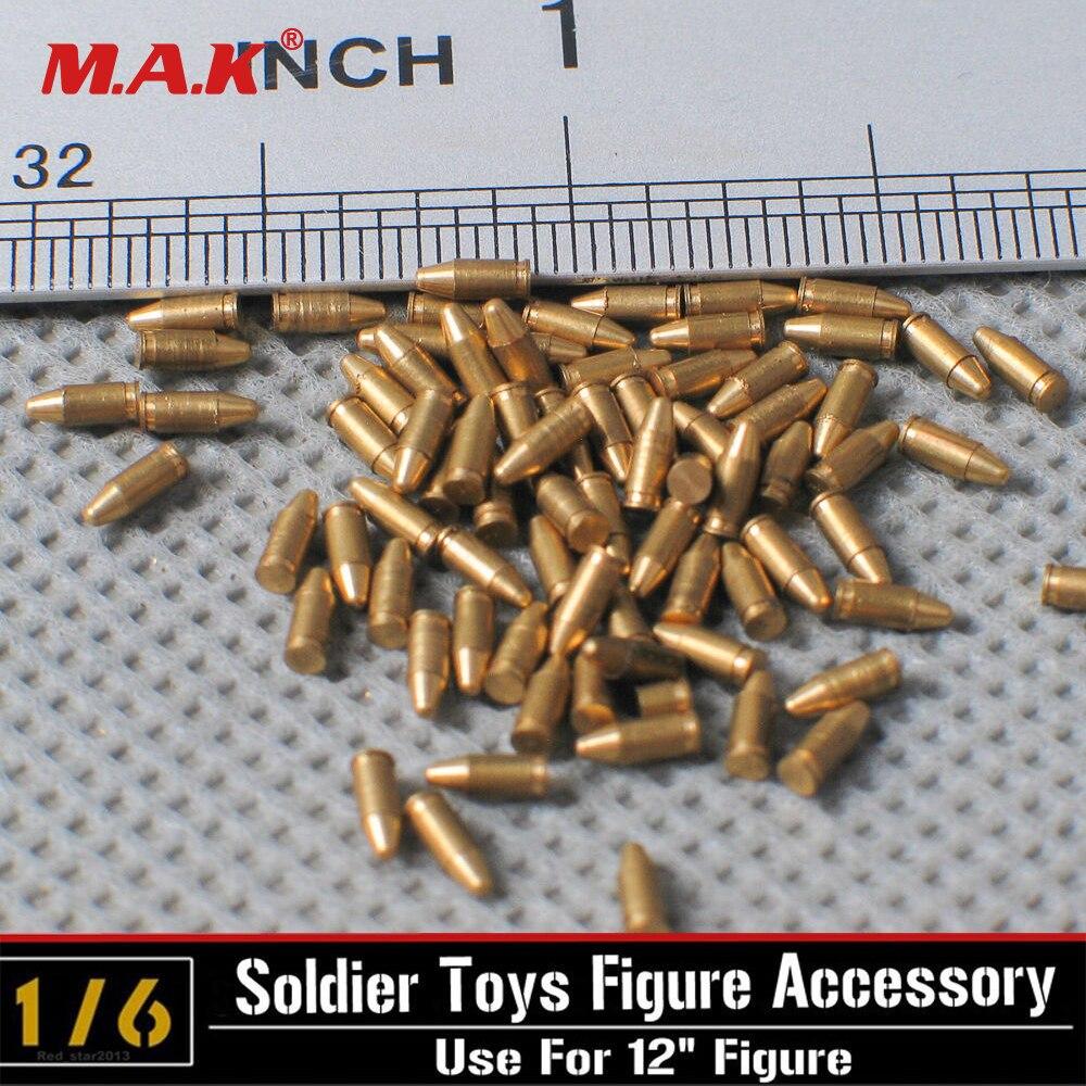 5pcs/set 1/6 Scale Pistol Bullets Model MP40 Copper Bullets Parabellum 9mm For 12