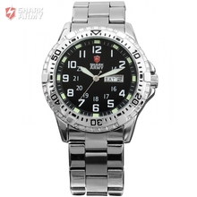 SHARK ARMY Date Day Display Stainless Steel Black Dial Men's Military Sports Analog Quartz Wristwatch Relogio Masculino /SAW018