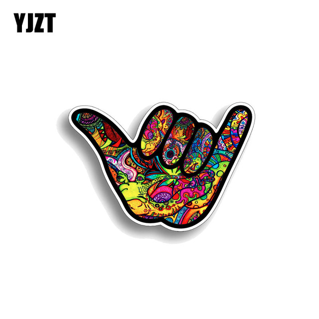 YJZT 12.7CM*8.9CM Shaka Hang Loose Graffiti Car Sticker Reflective Decal PVC 12-0484
