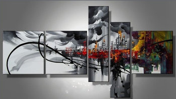 Hand made Black Busy modern city night High Q. Abstract landscape Wall Decor Oil Painting on canvas 5pcs/set mixorde Framed