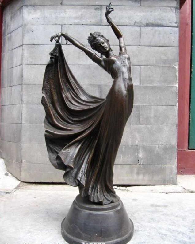 Bronzo da collezione statua del leone S0417 22 Cinese Grande Pure Bronze Copper & Marble pavone danza donna statua. B0403
