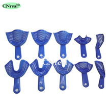 10 Pcs/set Dental Autoclavable Impression Tray Dentist Lab Device Plastic Steel 6pcs set dental impression stainless steel autoclavable denture instrument teeth tray oral hygiene tooth tray dental lab tools