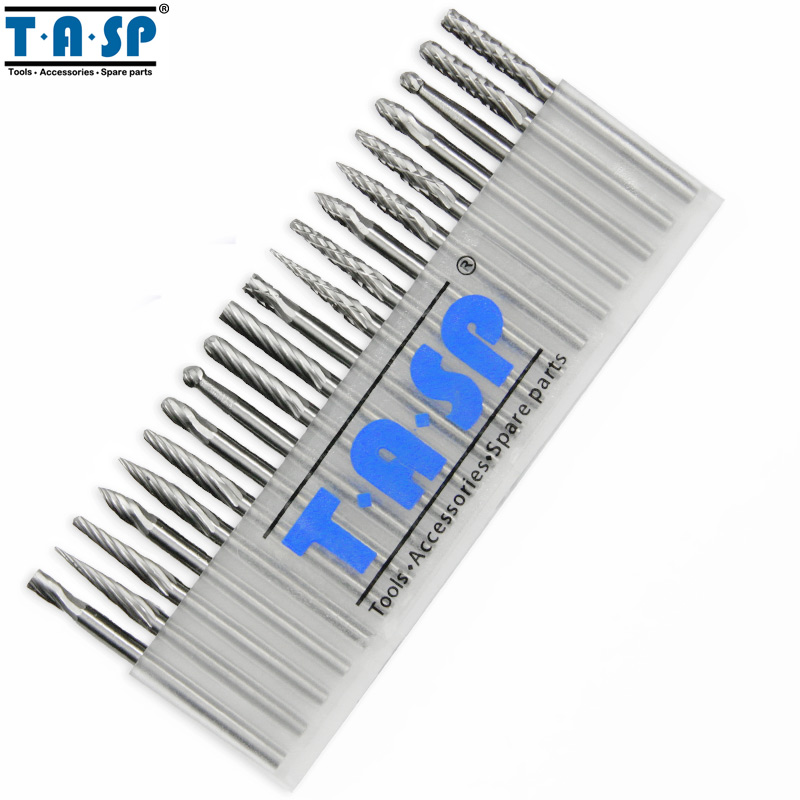 TASP 20PC 3mm Shank Tungsten Carbide Rotary Burr Set Engraving Milling Cutter Rotary Tool Accessories 10pcs corn milling cutter 1 3 3 175mm pcb cnc engraving tools end mill rotary burr tool for metal working