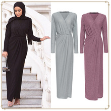 European And American Fashion Solid Color Elegant Muslim High-Grade Crystal Stretch Flash Knitted Dress