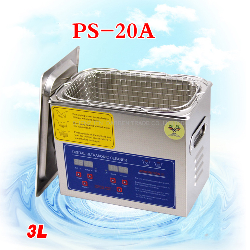 1PC globe AC110V/220V 120W digital ultrasonic cleaner 3L PS-20A 40KHz with free basket for small parts bath free shipping 110v 220v k 105 0 6l digital ultrasonic bath small cleaner