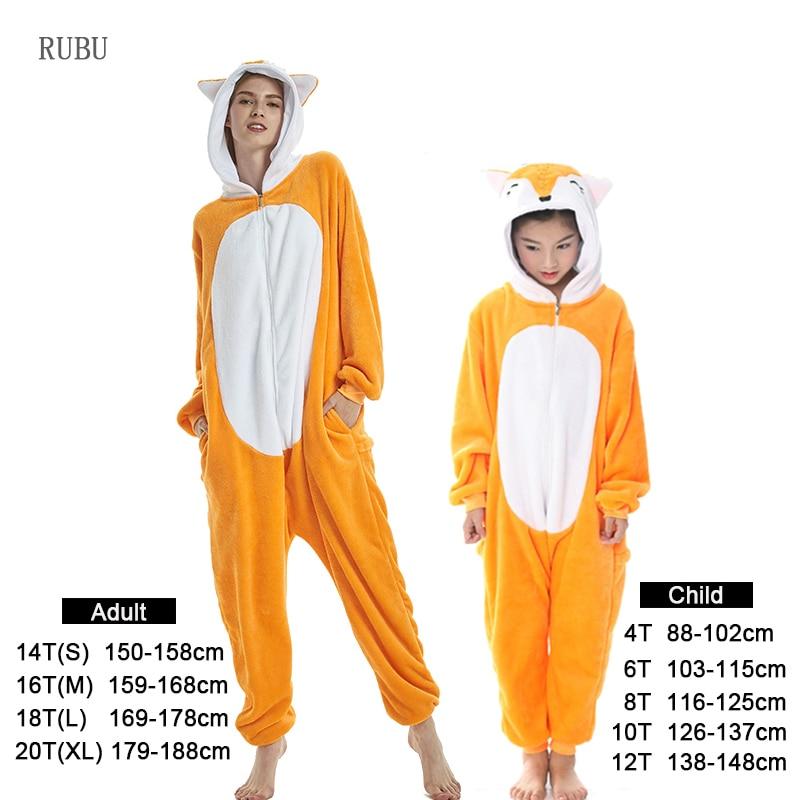 Flannel kids   pajama     set   winter animal adult unicorn   pajamas   for women men warm pyjamas kigurumi onesie fox boys girls sleepwear