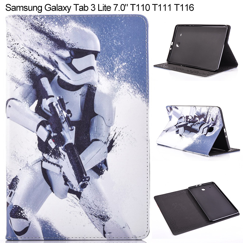 Fashion Cartoon PU Leather Case for Samsung Galaxy Tab 3 Lite 7.0 T110 SM-T111 T116 Star wars Smart Tablet Cover Stand
