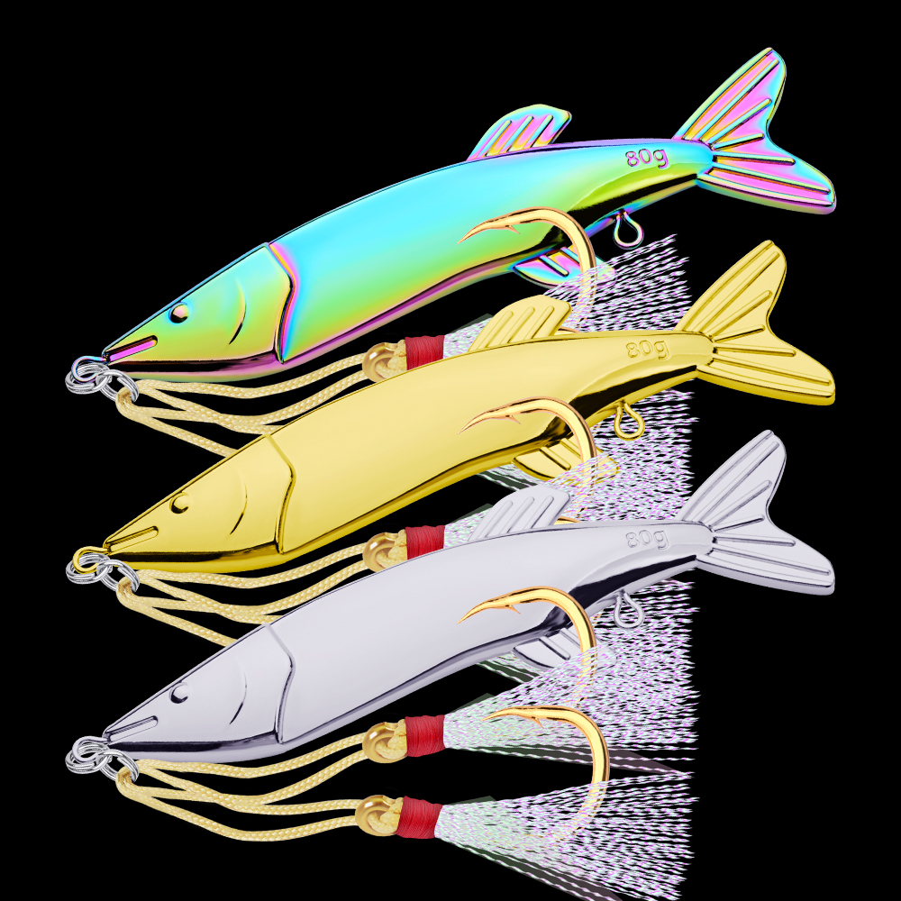 3pcs/Lot Fishing Lures Set Mixed Colors Bait Artificial Make Bass VIB High Quality 80g/12.2cm With 7# JIG Feather Hook 2018 Hot