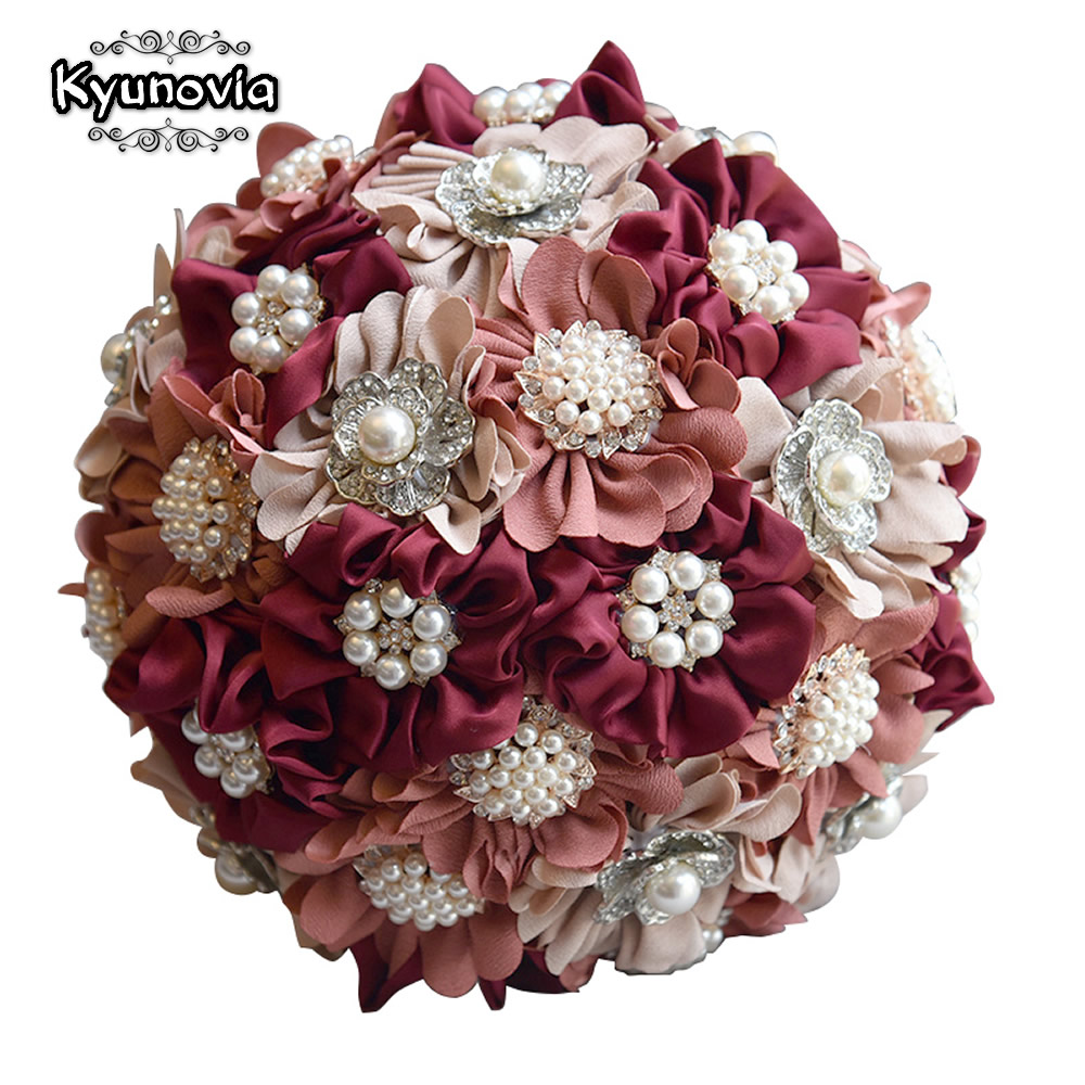 Kyunovia 3pc Set Satin Wedding Bouquet Burgundy Photograph Bridal Bouquet Artificial Wedding Flowers with Brooches Pearls
