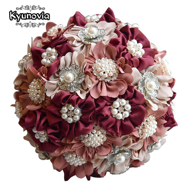 Kyunovia 3pc Set Satin Wedding Bouquet Burgundy Photograph Bridal Artificial Flowers With Brooches Pearls