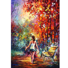 Hand Painted Abstract Landscape Barefooted Stroll Knife Modern Art Oil Painting Canvas Art Living Room hallway Artwork Fine Art