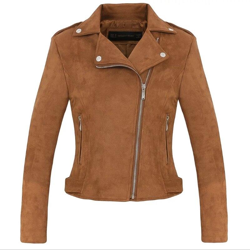 2018 New Autumn Long Sleeve Short Faux   Suede     Leather   Jacket Women Motorcycle Jacket Women Biker Jacket Slim PU Coat 10 Colors
