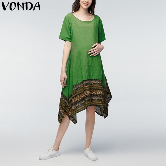 547a6141cea11 VONDA Pregnant Women Summer Maternity Dress Vintage Patchwork Short Sleeve  Cotton Asymmetrical Casual Loose Pregnancy Clothing