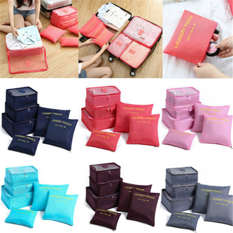 2019 Hot 6 Pcs Waterproof Travel Storage Bags Clothes Packing Cube Luggage Organizer Pouch