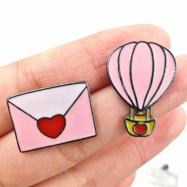 Timlee x184 livraison gratuite mignon ballon à air chaud enveloppe en métal broche pins, chic mode bijoux en gros