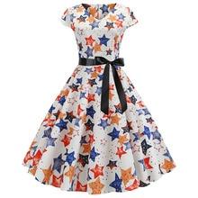 2019 Summer New Womens Hepburn Short Sleeve Large Printed Vintage Dress A-Line Print Regular Empire V-Neck