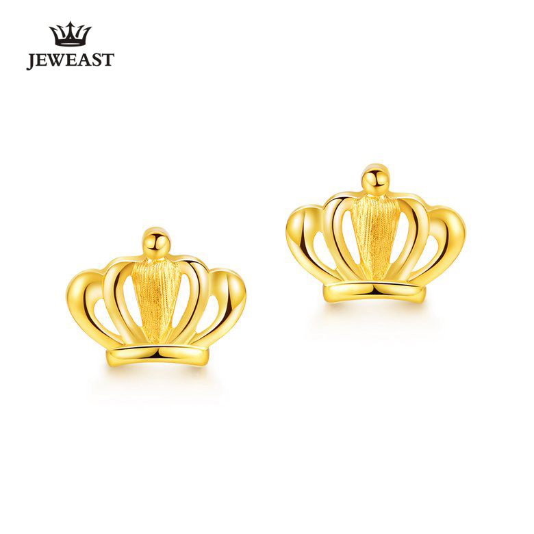 24k Pure Gold Crown Shape Earrings Queen 999solid Jewelry Fine Top Hot Ing 2017 New Woman Gift For Self A Pair In From
