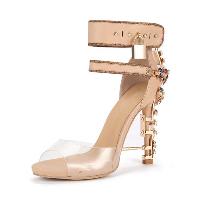 9b7aeb4d62069 placeholder 2018 Sexy Rhinestone Heel Gladiator Sandals Woman Pvc Open Toe  Diamond High Heel Shoes Women Ankle