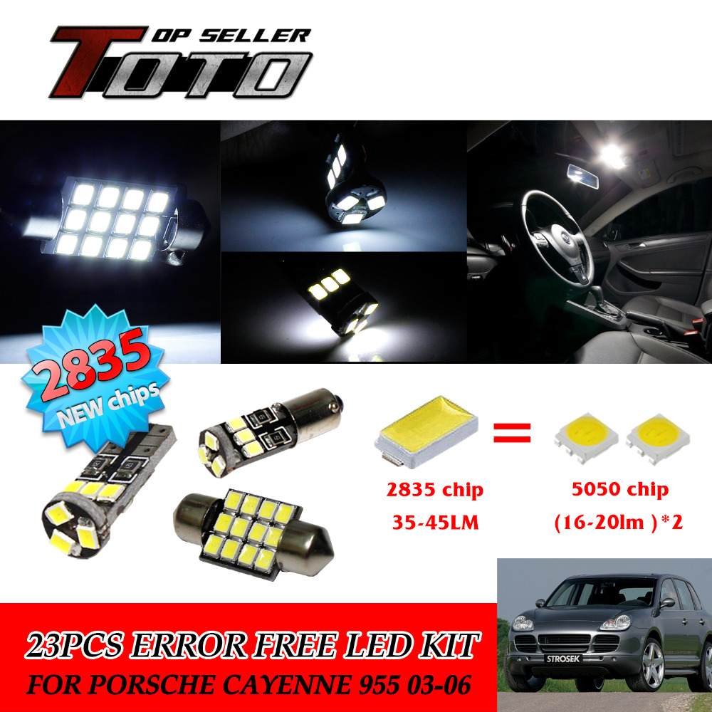 23x LED Car Auto Interior Canbus Dome Map Reading White 2835 Chips Kit For Porsche Cayenne 955 03-06 #104